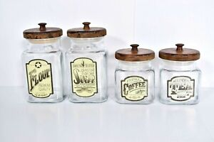 Vintage 4 Anchor Hocking Labeled Glass Canister Wood Lid Flour Sugar Tea Coffee