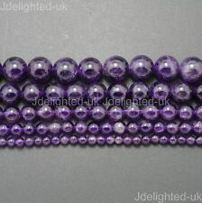 Grade A Natural Amethyst Gemstone Round Beads 2mm 3mm 4mm 6mm 8mm 10mm 12mm 16""