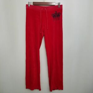 Juicy Couture Womens Vintage Sweatpants Small XS Red Crown Sequin Velour USA