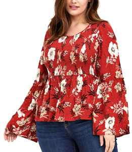 Torrid 1X Plus Size Babydoll Floral Smock Stretch Hippie Bell Sleeve Retro Top