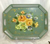 VTG FRENCH TOLE TRAY SAGE GREEN HAND-PAINTED FLOWER FLORAL PIERCED METAL 20x16
