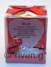 MOTHER HEART SHAPED Glass Plaque@MOTHERS Red Rose Gift@MUM keepsake@Mammy VERSE