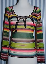 Jean Paul Gaultier Soleil Green Orange Striped Sunset Print Mesh Top Black SZ S