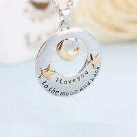 New I Love You To The Moon and Back Pendant Necklace Family Member Cute Gift BH