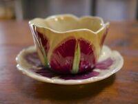 Vintage Japanese Glazed Ceramic Hand Painted Tulip Floral Flower Planter Japan