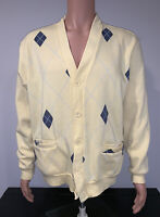 Haband Mens Sweater Button Up Cardigan Long Sleeve Medium Yellow