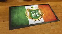 Personalised with any name Irish Flag Shamrock bar runner beer pub mat man cave