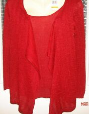 NWT SMALL WOMENS DRESSY SEXY RED BLING SPARKLE JACKET TOP 89TH & MADISON $72