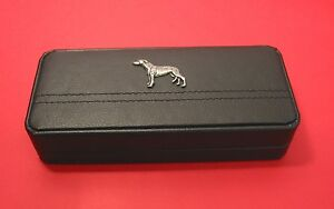 Greyhound on Black Faux Leather Pen Box with Pens Dad Mother Christmas Gift