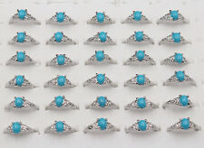 Wholesale 10Pcs Blue Resin Turquoise style Silver Plated Rings women gift