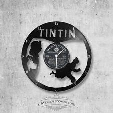 Horloge en disque vinyle 33 tours thème Tintin