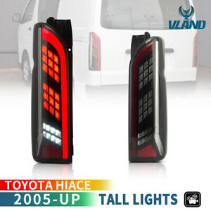 For 2005-2018 Hiace Van Smoked LED Taillights with Sequential Turn Signal