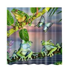 Waterproof Polyester Frogs Print Shower Curtain Sheer Panel 12pcs Hook #1