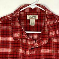 LL Bean Mens Outdoor Flannel Shirt LS Red Plaid 2XL