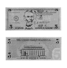BILLETE 5$ US DOLLAR REPLICA PLATA SILVER