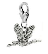 Flying Crane Heron Birder Bird Clip On Dangle Charm for Traditional Bracelets