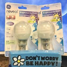 (2) GE Lighting 63508 Reveal Bright from the Start CFL 15-Watt~60w replacement