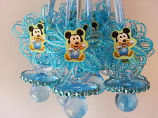 12 Baby Mickey Mouse Pacifier Necklaces Baby Shower Game Favors Prizes Boy Decor