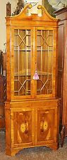 Incredibly Beautiful Yew Wood English Inlaid Corner Cabinet free shipping