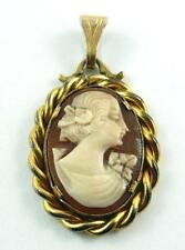 Vintage Gold-Filled Carved Shell Cameo Pendant of a Young Woman