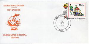 01138+  FDC ENVELOPPE 1er JOUR COTE D'IVOIRE FOOT COUPE DU MONDE FOOT ESPANA 82