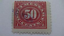 Large Numeral In Oval Carmine Rose USA Used 50 Cent Revenue Stamp