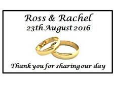 42 Personalised Wedding Stickers | Two Gold Rings |  3 for 2 Envelopes Labels