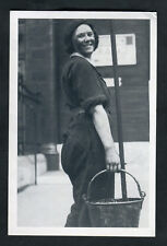 """C1990s Nostalgia Card: 1941 """"The New Lift Greasers"""" Woman Cleaner Smiling"""