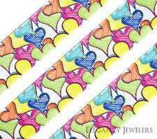 """High Quality 1"""" Colorful Hearts Love Cheer Printed Grosgrain Ribbon"""