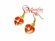 SAILOR MOON RED COSMIC HEART EARRINGS CRISIS MOON CRYSTAL STAR BEST QUALITY