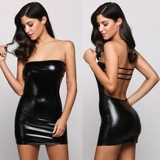 Sexy Bondage Wet Look Backless Mini Dress Evening Party Club Wear 8-10