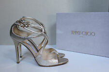 New sz 10 / 40 Jimmy Choo Lang Gold Metallic Leather Sttrapy Sandal Shoes