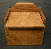 Vintage Brown Wooden Box For Recipe or Index Cards Flip Top Lid Hang/Table Top
