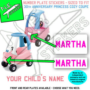 Personalised number plate Stickers TO FIT Little Tikes Cozy Coupe PRINCESS car