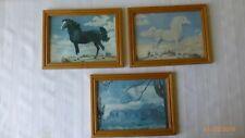 Vintage EZ Hang Lambert Product Horse Equine Mountains Pictures Set of 3 Decor
