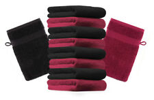 Betz Set di 10 guanti da bagno Premium misure 16 x 21 cm 100% cotone rosso scuro
