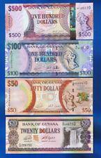 GUYANA  - 4 x BANKNOTEN - 20 50 100 500 DOLLARS 2016 / 2018  UNC SET