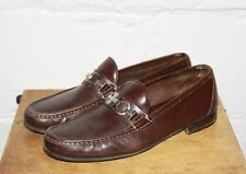 USED Salvatore Ferragamo Brown Leather Bit Slip On Loafers Sz 10 D NICE WOW