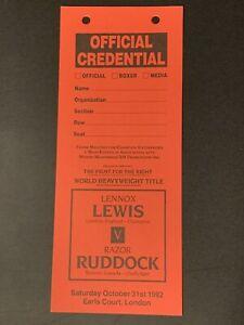 2 Rare 1992 Original Lennox Lewis Vs. Razor Ruddock Mint Boxing Press Passes VIP