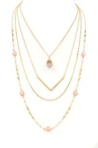 """TRENDING FASHION Rose Opal Acrylic Stone Layered Goldtone Necklace 17.5"""""""