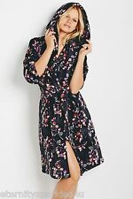 NEXT LADIES BLACK FLORAL DESIGN SUPER SOFT ROBE DRESSING GOWN SMALL/MEDIUM/LARGE