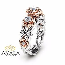 Ring in 14K Two Tone Gold Three Stone Natural Diamonds Engagement Ring Floral