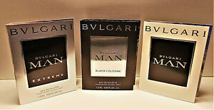 Bvlgari Man EDT, Man Extreme EDT, Man Black Cologne EDT Sample Vials 3 x 1.5 ml