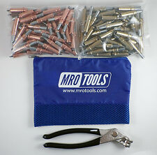 50 1/8 & 50 3/16 Cleco Fasteners + Cleco Pliers w/ Mesh Carry Bag (K4S100-1)