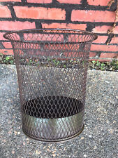 "ANTIQUE VINTAGE NEMCO WIRE MESH METAL INDUSTRIAL  14"" WASTEBASKET TRASH CAN"