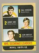 1972 - 73 Topps Hockey Set NHL SCORING LEADERS Card BOBBY ORR PHIL ESPOSITO