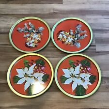 Vintage Mcm Christmas Tin Metal 11� Round Serving Cookie Trays ~ Set of 4