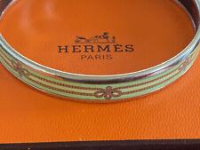HERMES SILVER ENAMEL NARROW BRACELET ROPE PATTERN AUTHENTIC