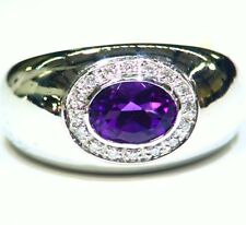Vintage 14K Solid Gold Natural Amethyst Diamond Engagement Band Ring Designer