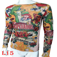 Mermaid Rose Monster Sport Tattoo T-Shirt Tattoo Tops Biker Fitness Plus Size
